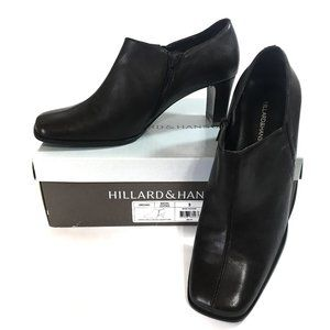 Hillard & Hanson 9 Brown Leather Oregano Zip Heel